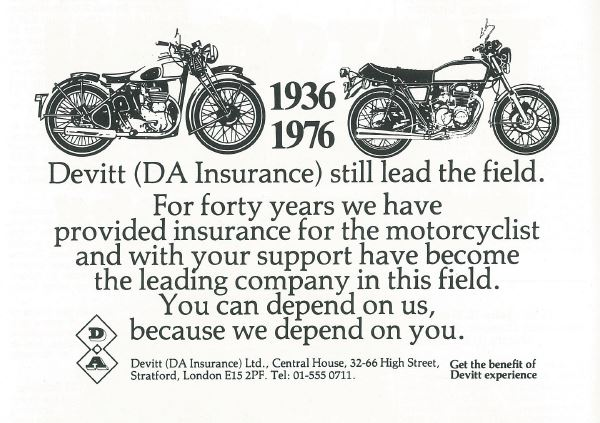 A poster celebrating 40 years of providing motorcycle insurance
