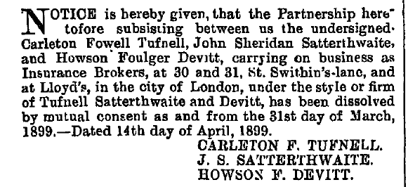An article from the London Gazette in 1899