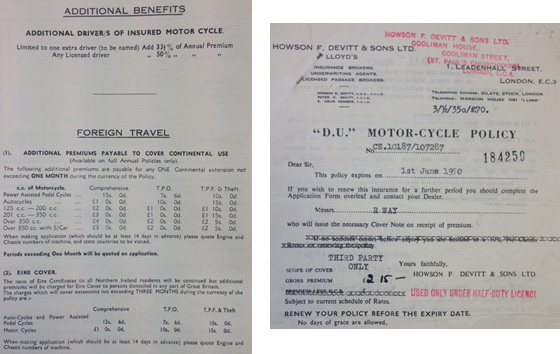 An example of an insurance certificate and additional benefits from the 50s