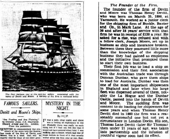 "An article discussing the publication of a book about Devitt & Moore; ""Sea Trading and Sea Training"" by Clement Jones, C.B. Illustrated."