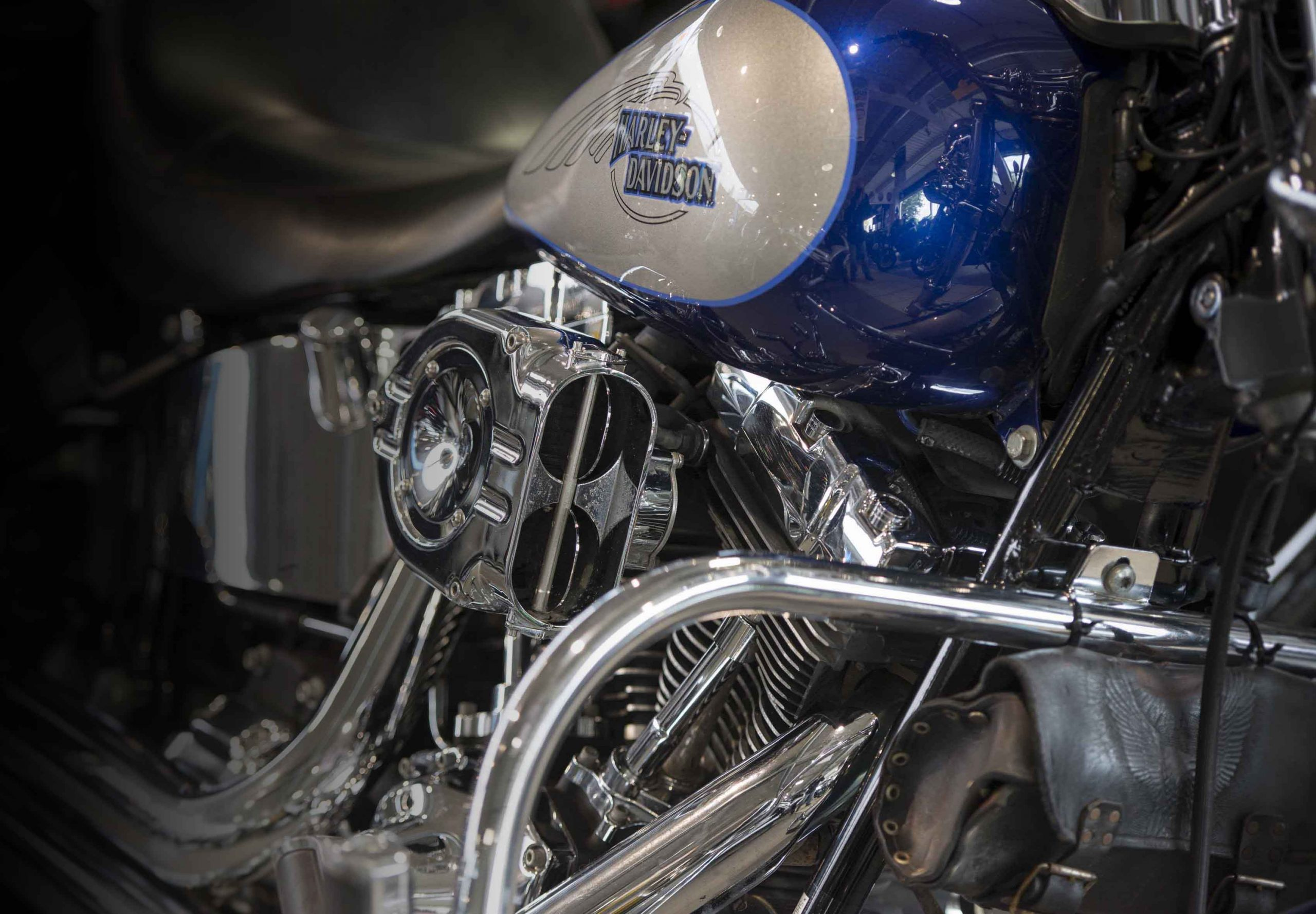 Blue Harley Davidson Bike