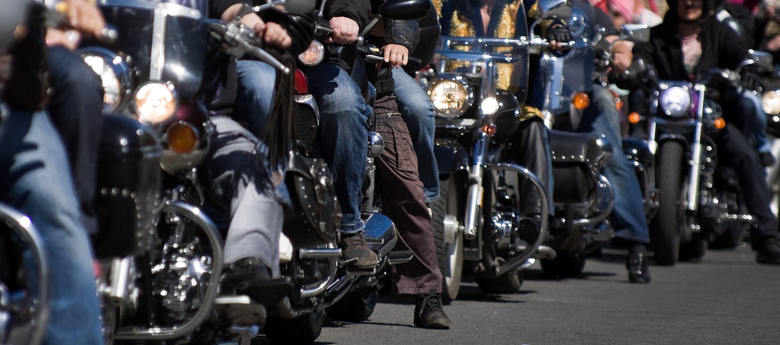 row of bikers