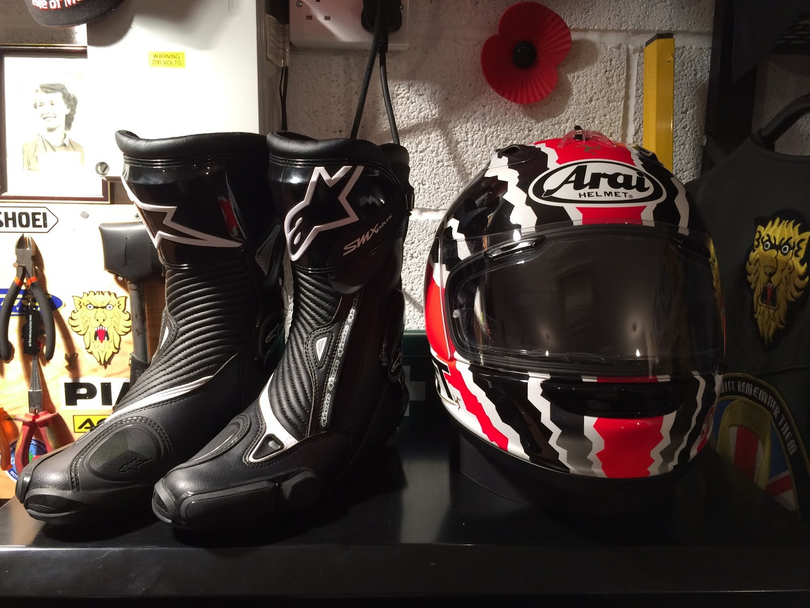 Boots and helmet