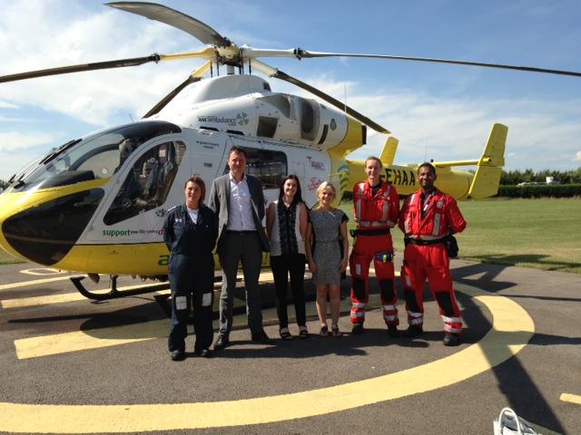 The Devitt Team with the Essex Air Ambulance Crew