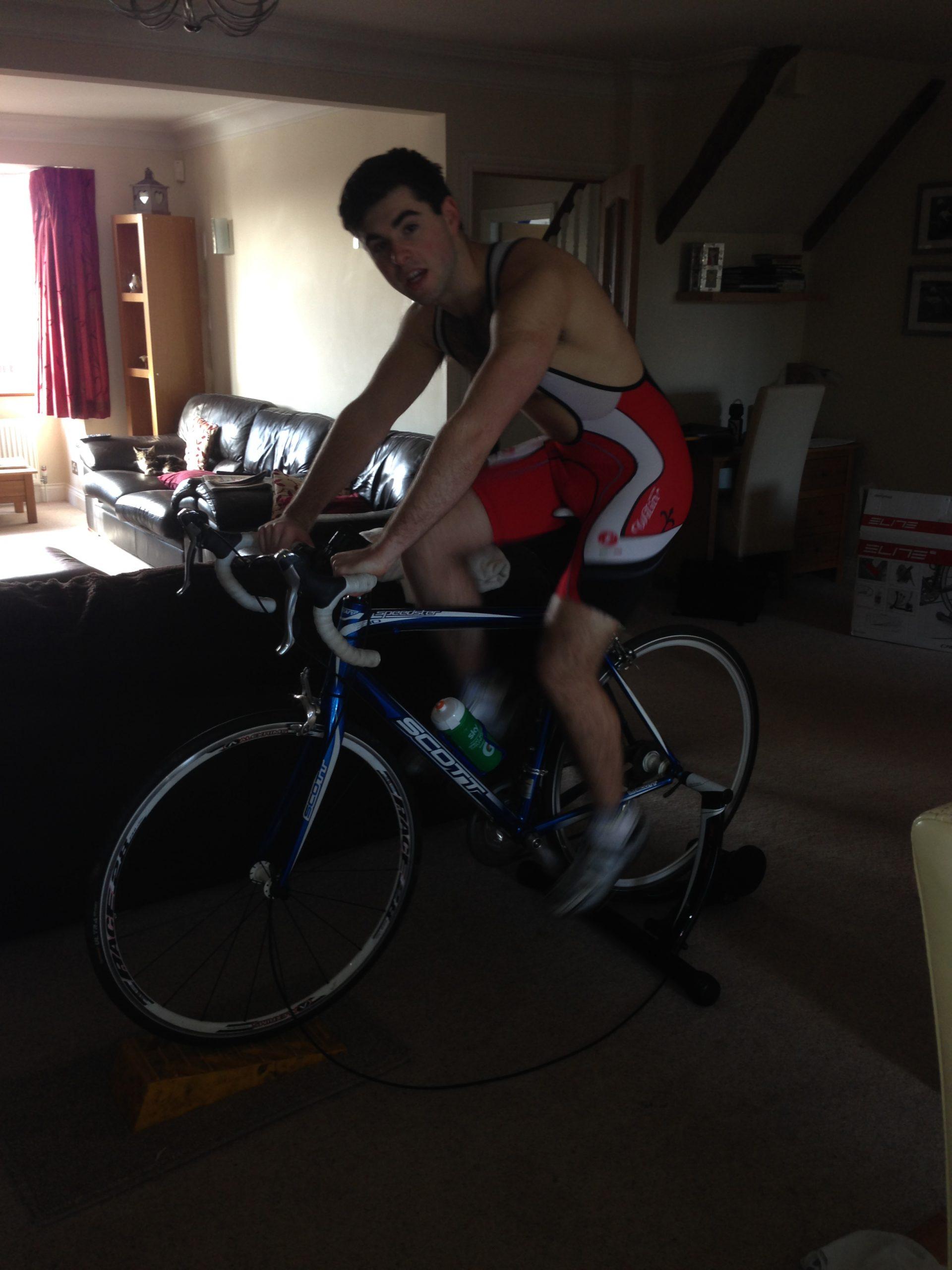 jordan on exercise bike
