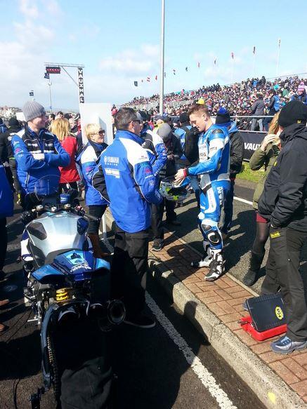 Dean Harrison getting ready to race