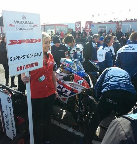 Guy Martin having a chat with Pirelli's Jason Griffiths