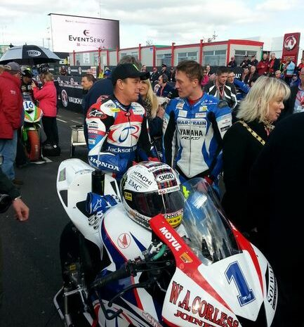 John McGuinness and Dean Harrison ahead of the NW200 Supersport Race