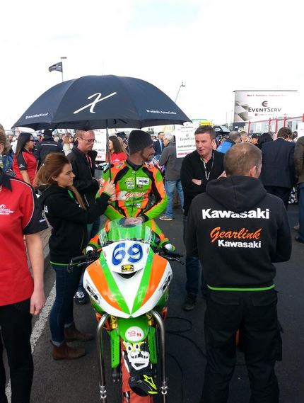 Newcomer Glenn Irwin having a chat with his dad Alan