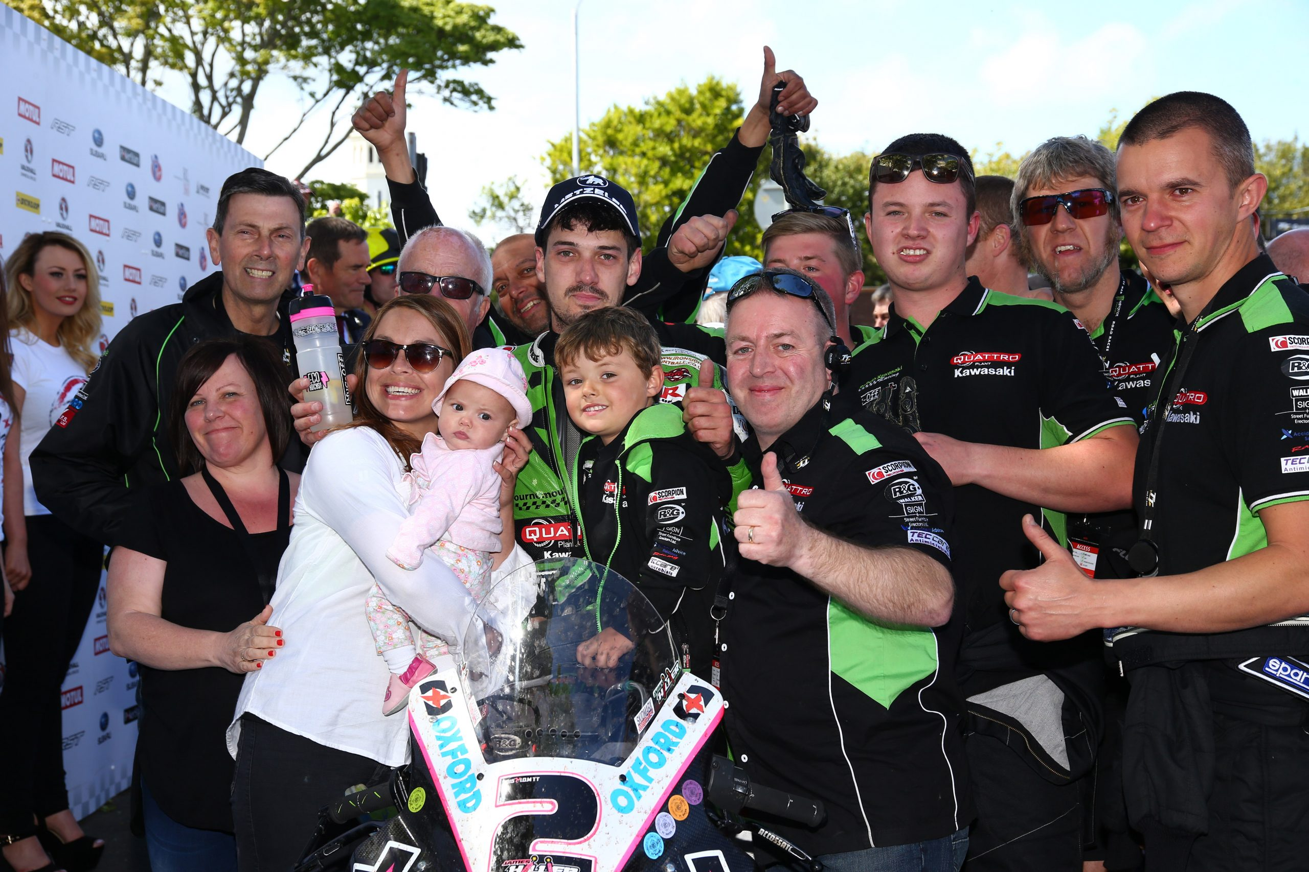 James Hillier and the team celebrating their Superbike podium at the 2015 TT