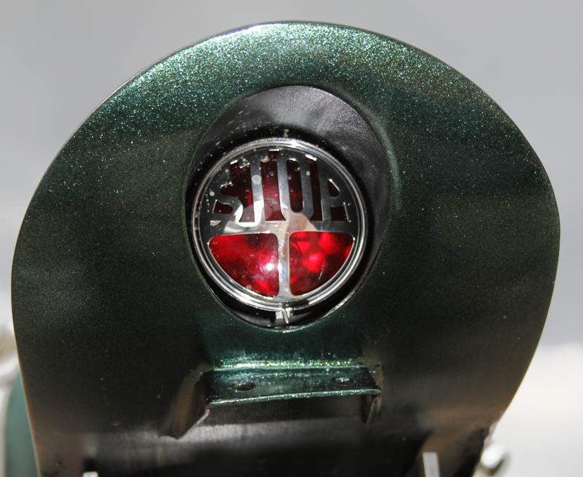 Classic Vincent tail light modification on motorcycle