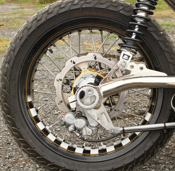 painted wheel rims on motorcycle