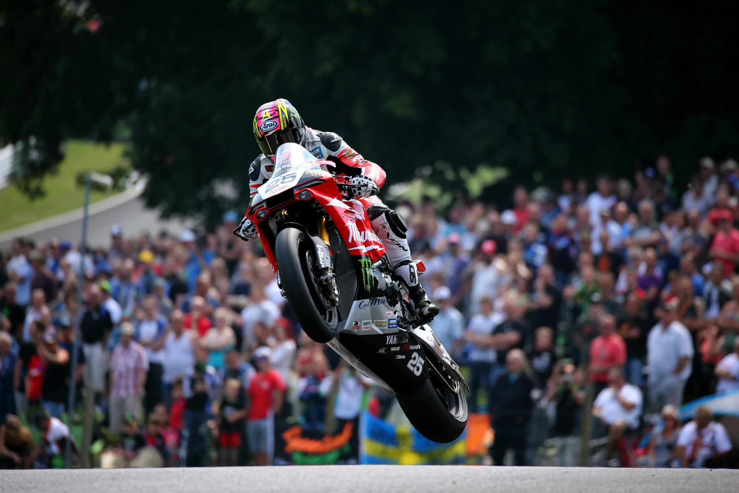Josh Brookes in spectacular action over the Mountain at Cadwell park image by Impact Images