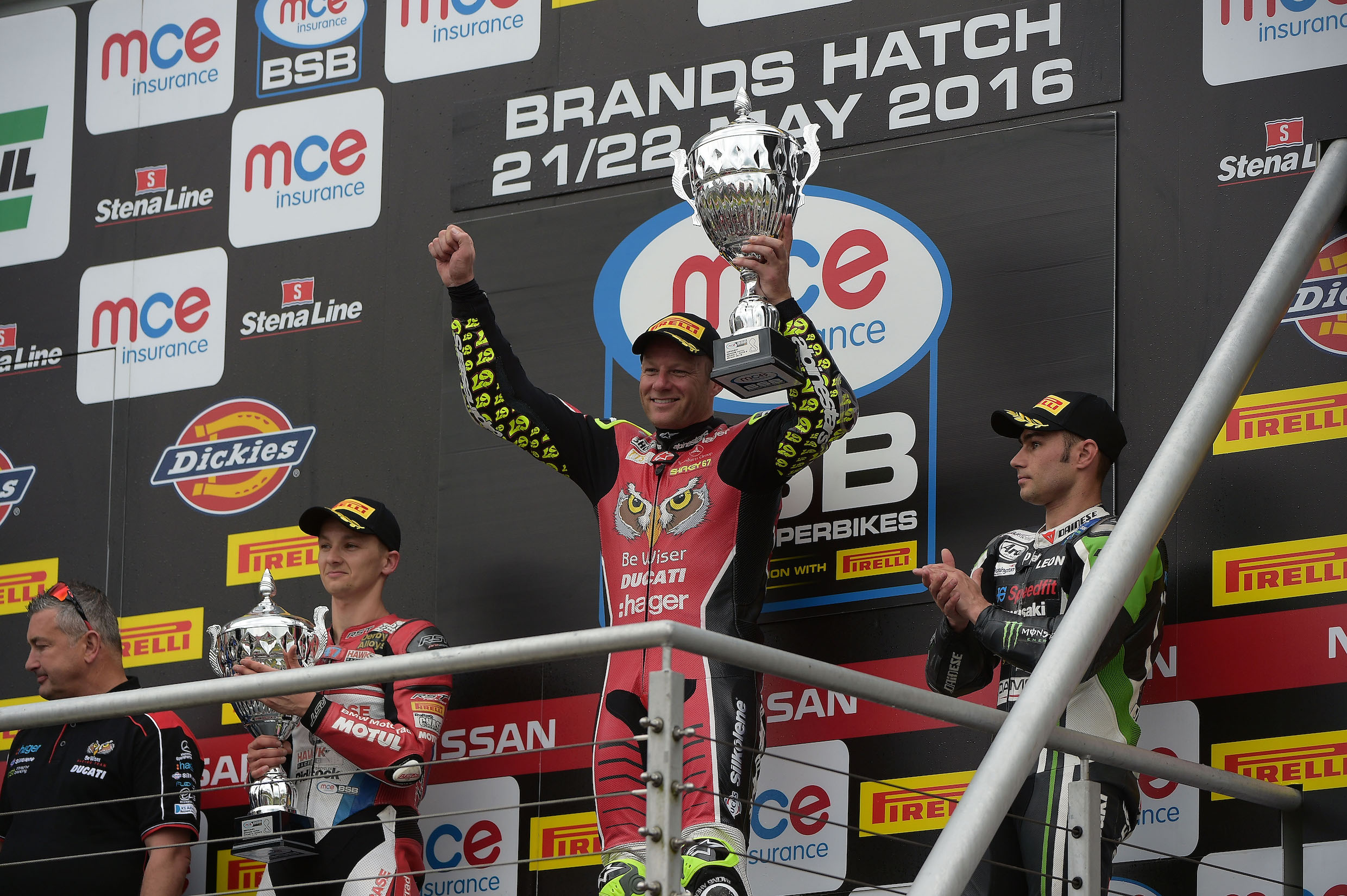 Shakey shakes off his Ducati worries as he reaches the podium at Brands.