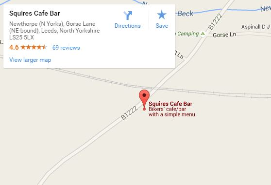Squires biker cafe map