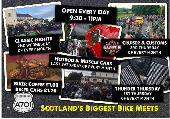 Leadburn Cafe poster for bike night credit facebook official page