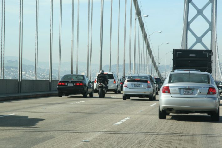Lane splitting on the bridge image credit Nathan Bittinger on flickr