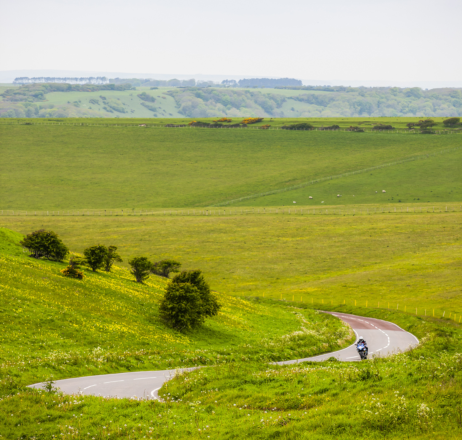 Motorcycle riding through south downs