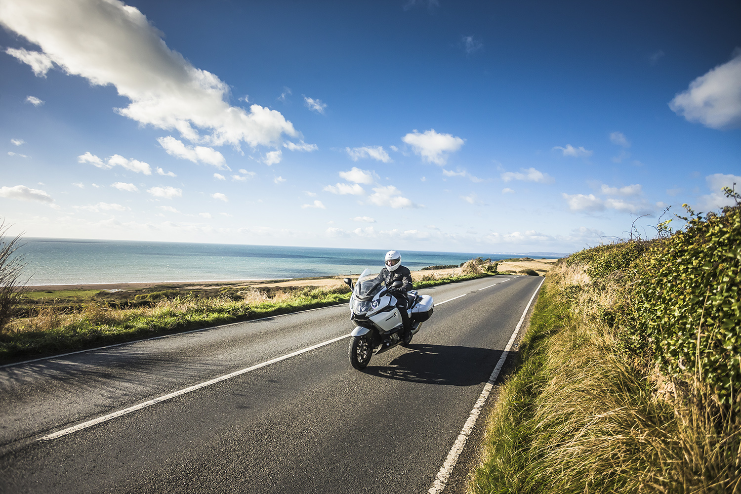 Motorcycle riding along the coast of Dorset