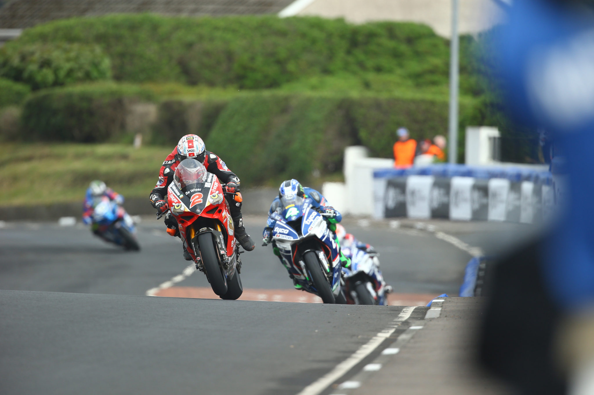 Glenn Irwin won a thrilling race at the NW200 credit Double Red
