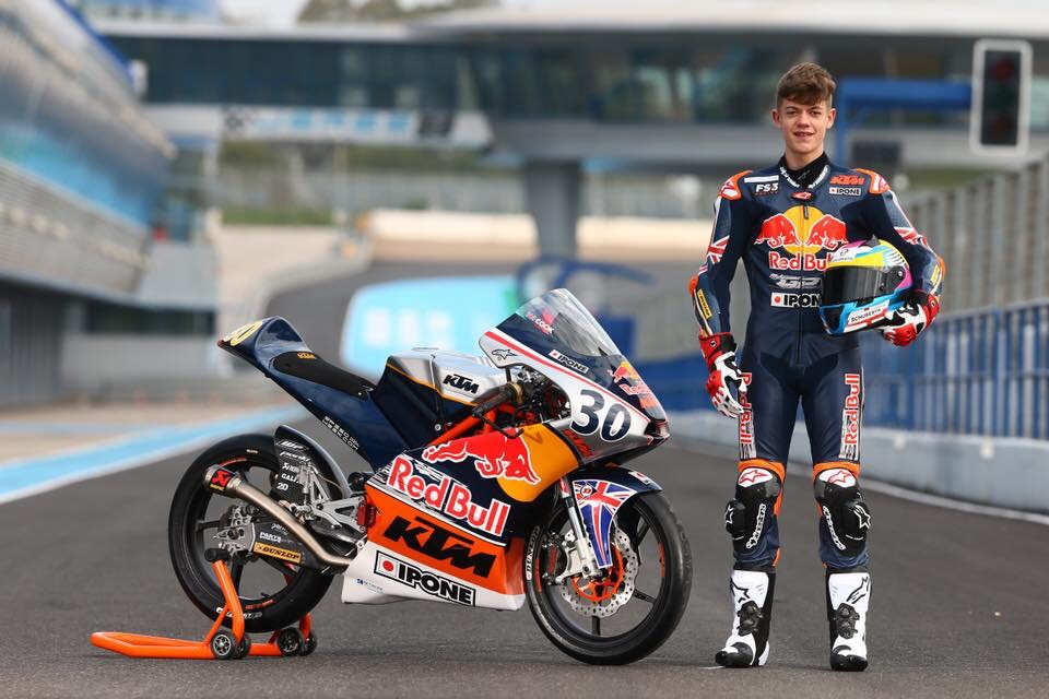 Max Cook with his bike for Red Bull Rookies