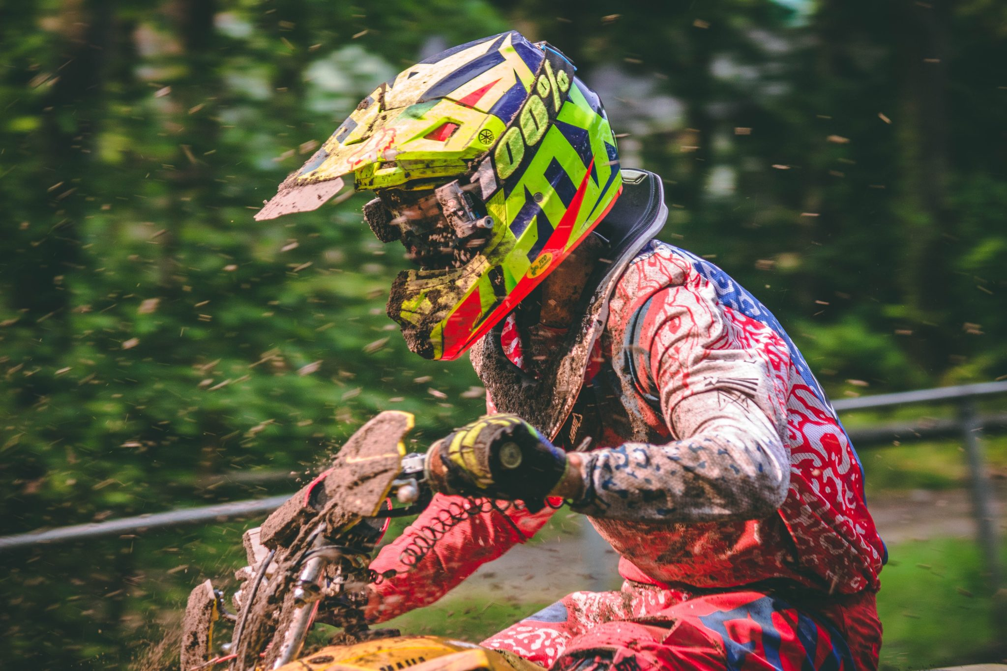 rider covered in mud