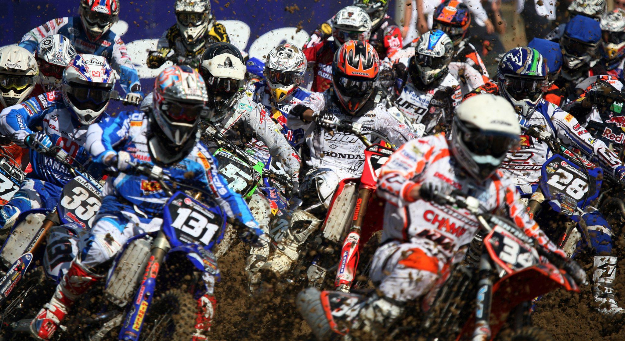 Pack shot of motocross racers