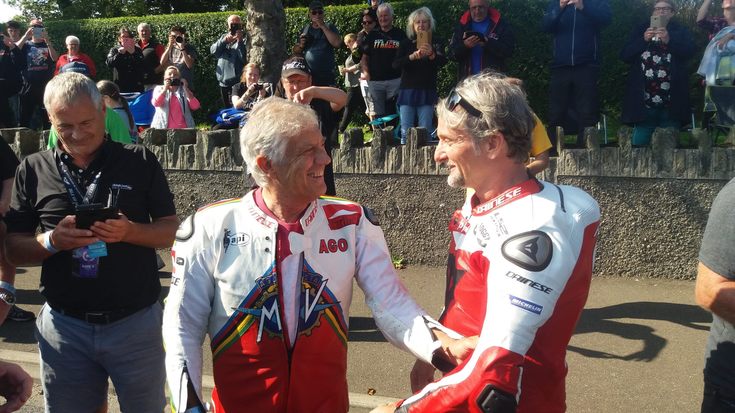 Carl Fogarty and Giacomo Agostini at the Classic TT