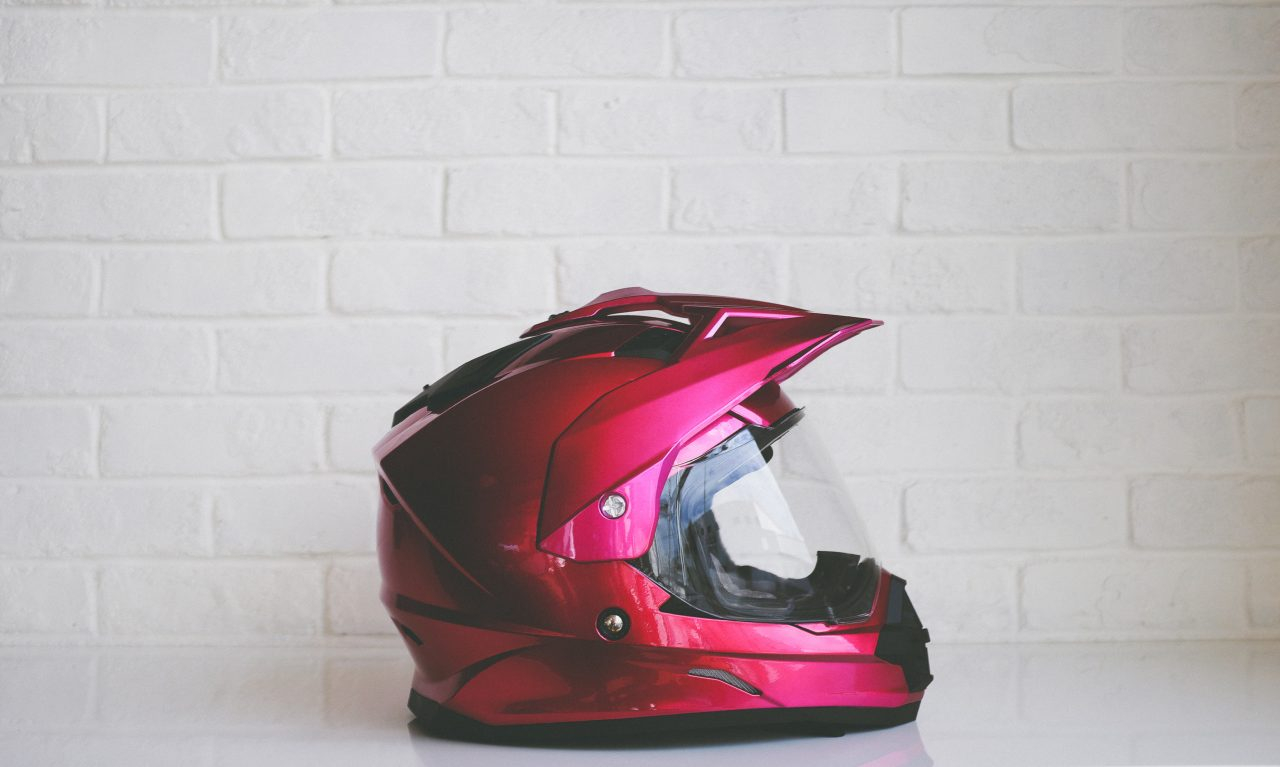 pink motorcycle helmet