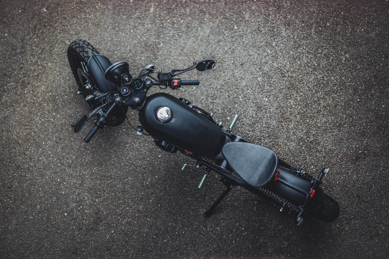 Birdseye view of a motorcycle