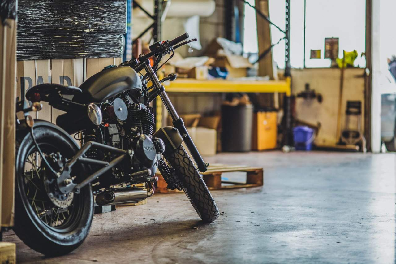 motorcycle in garage
