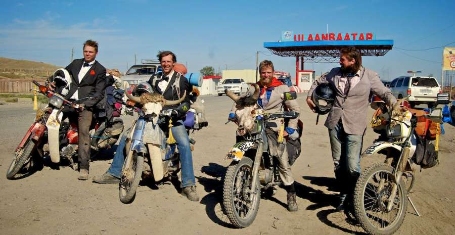 Group of bikers at the Mongol Rally