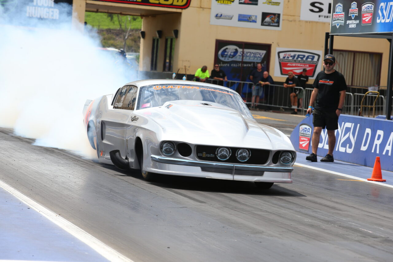Carl and his Mustang Drag Race machine