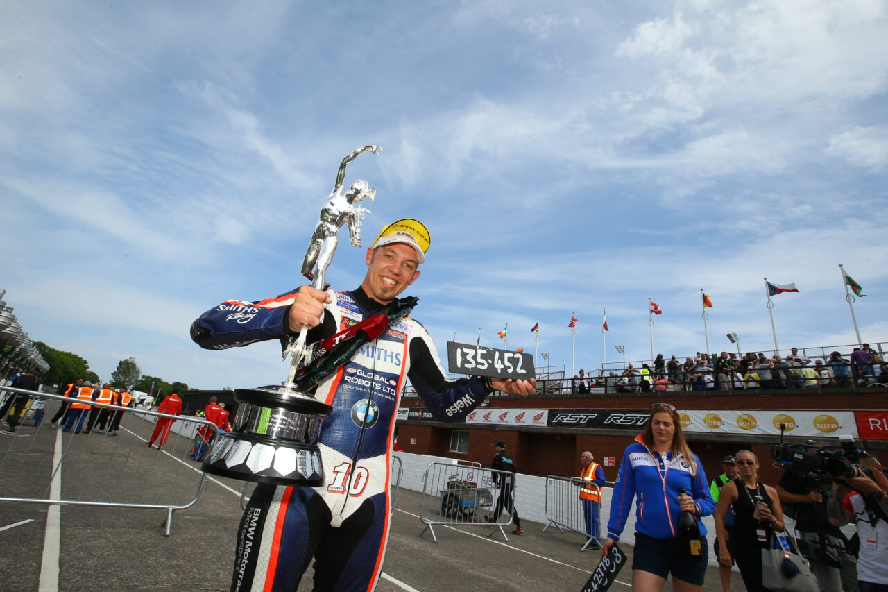 Road racer Hicky taking the win at the Isle of Man TT